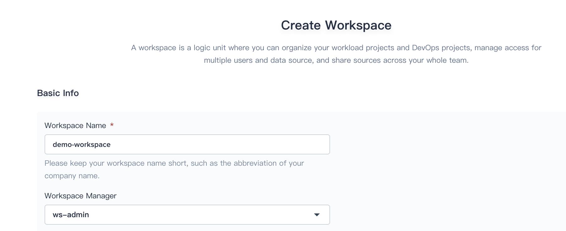 Workspace List