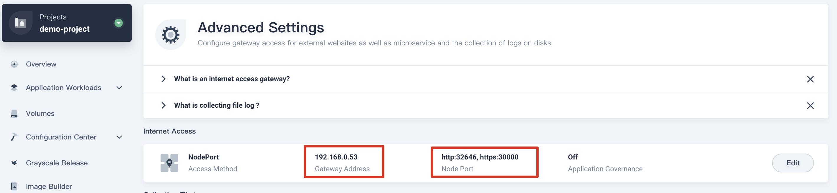 NodePort Gateway