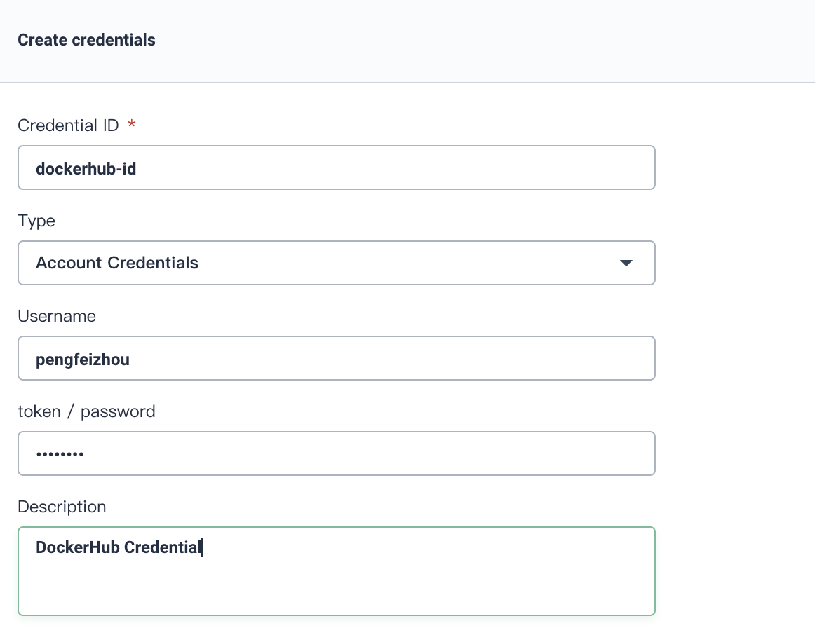 Create Credential for DockerHub